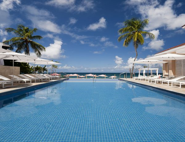 View of the swimming pool at The Bodyholiday in St Lucia.