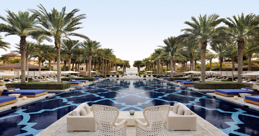 View of the swimming pool at One and Only The Palm in Dubai