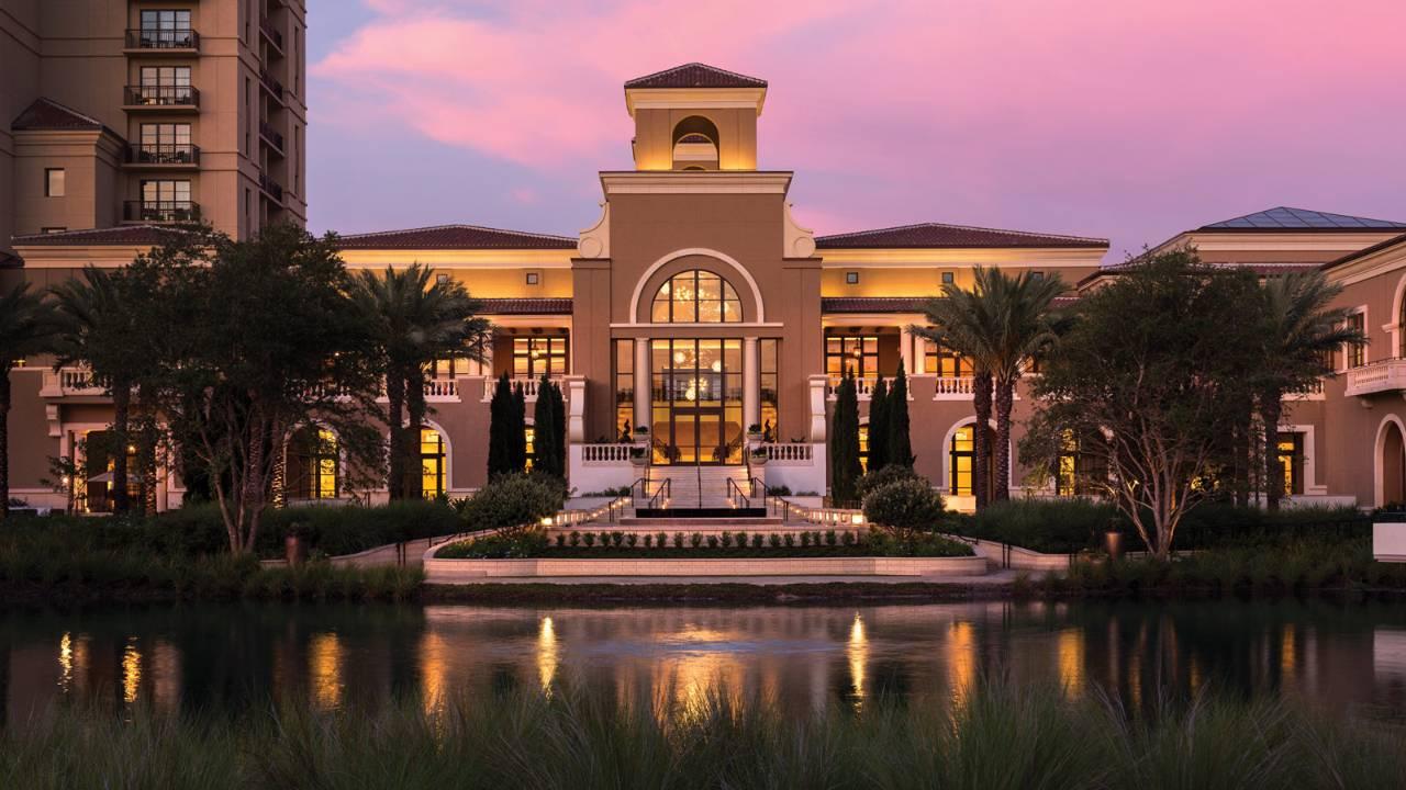 View of the lobby at dusk at Four Seasons Orlando at Walt Disney World Resort in Florida.