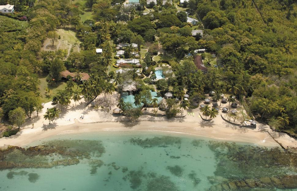 Aerial view of East Winds Inn at St Lucia