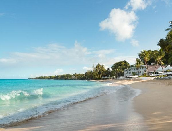 View of the beach and the resort at Fairmont Royal Pavilion in Barbados
