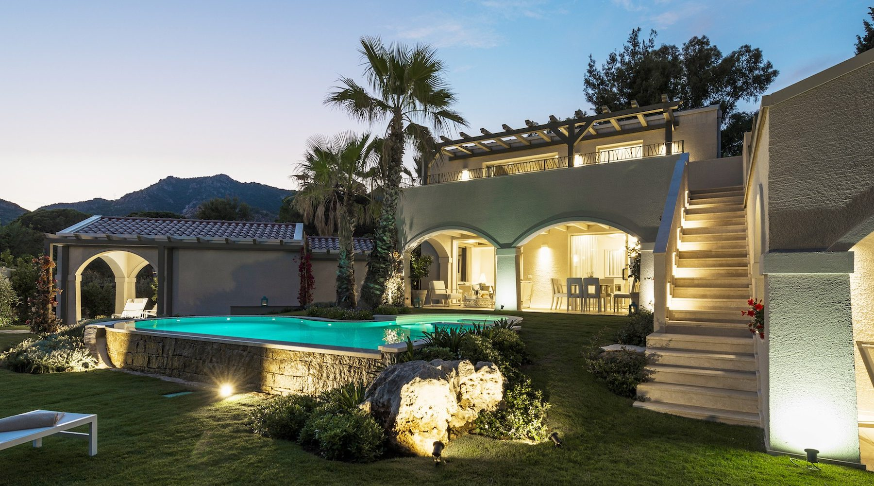 View of Villa Sofia by night at Forte Village in Sardinia