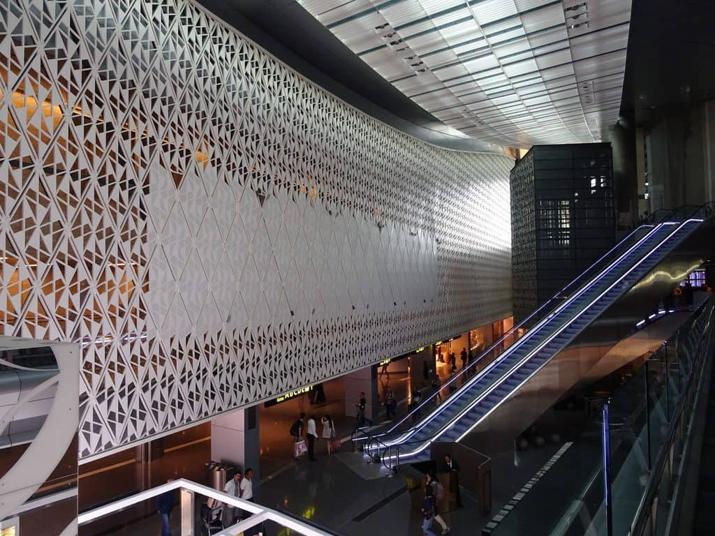 View of the exterior of Al Maha Lounge in Hamad International Airport in Doha, Qatar