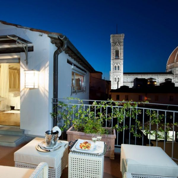 Night view from a balcony at Hotel Brunelleschi in Florence