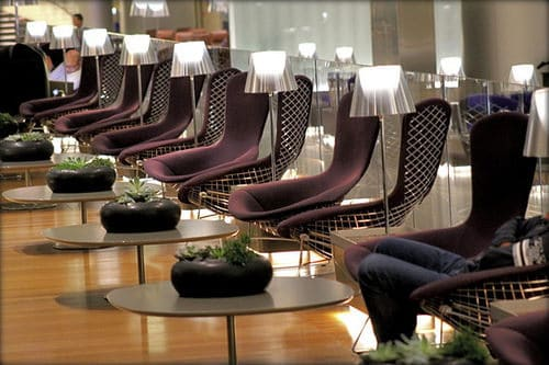 Interior view of the Al Mourjan Lounge at Hamad International Airport in Doha, Qatar