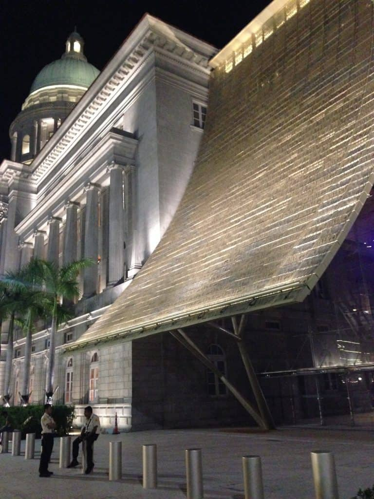 Side view of the gold canopy on the National Gallery Singapore. Things to do in Singapore blog post.