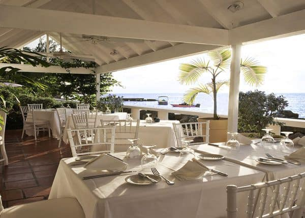 View of the restaurant at Cobblers Cove in Barbados