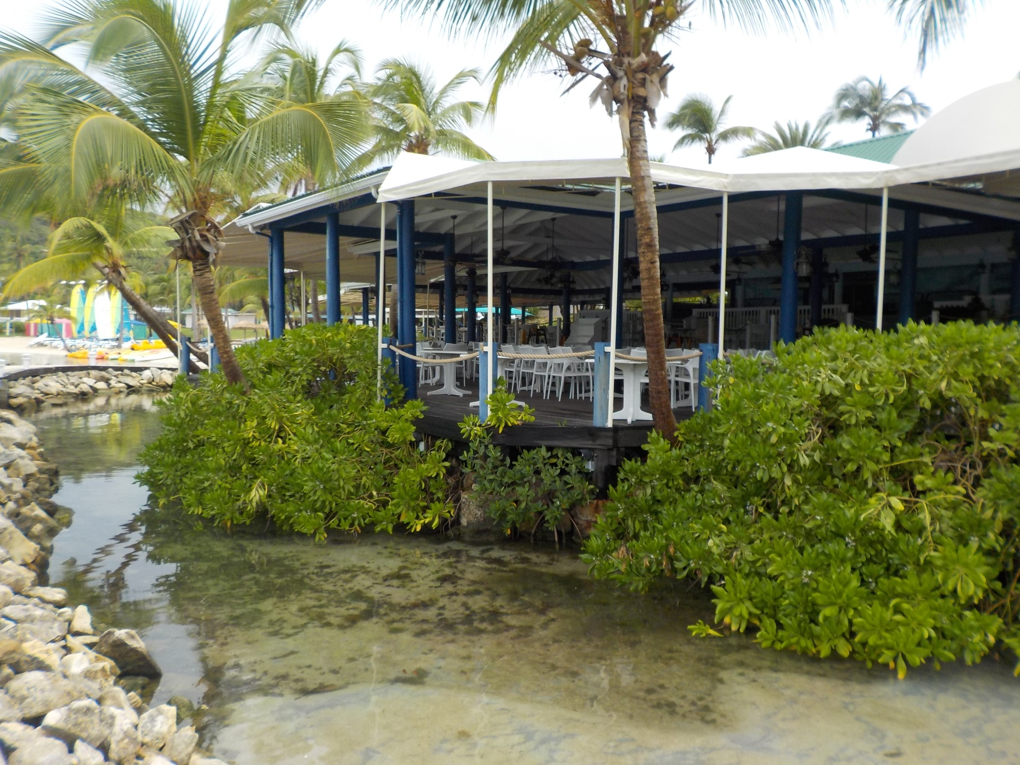 Exterior view of the Docksider Restaurant at St James Club Antigua