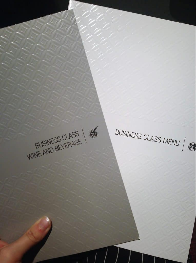 View of the wine and beverage and food menu for Qatar Airways Business Class