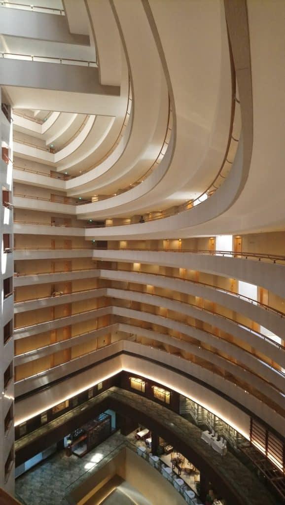 View of the interior atrium at Mandarin Oriental Singapore