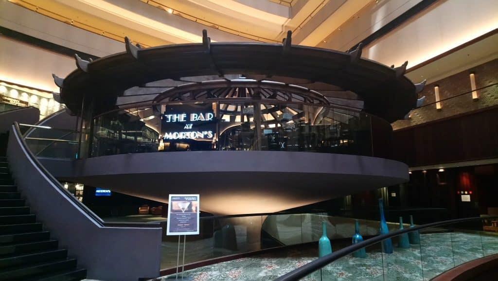 Exterior of the bar at Morton's restaurant, an American steakhouse at Mandarin Oriental Singapore