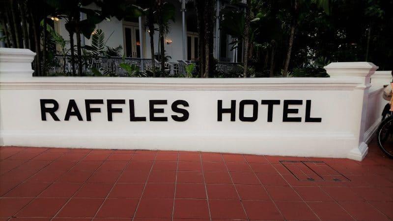 Exterior sign of the Raffles Singapore Hotel