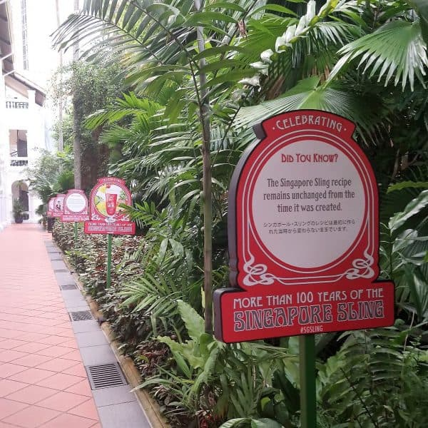 Sign for Raffles Singapore Sling celebrating more than 100 years
