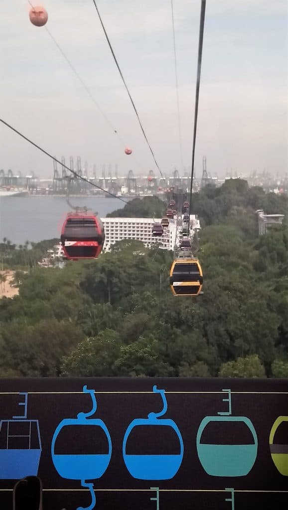 Landscape photograph from inside the cable car going across Sentosa Island in Singapore. Things to do in Singapore.