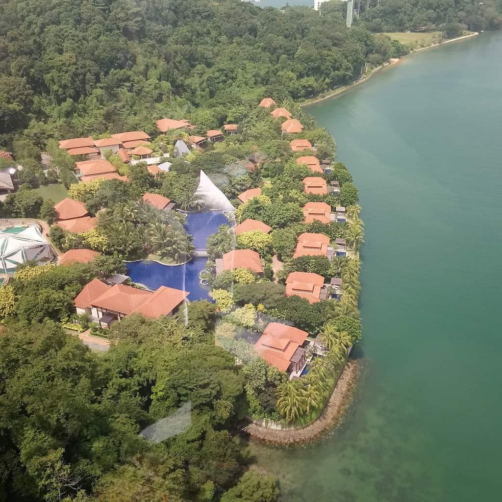 Aerial view of Resort World Sentosa's Beach Villas