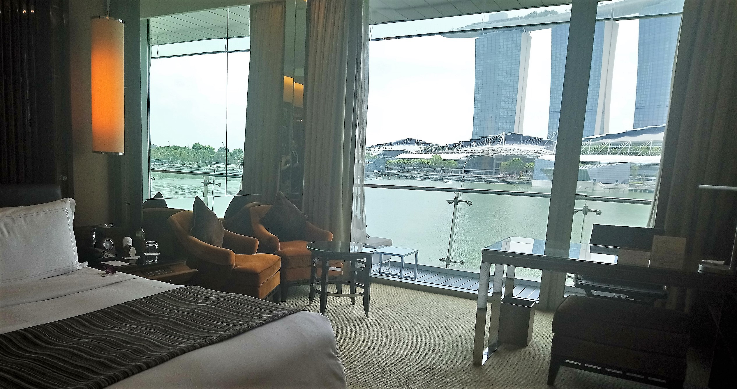 View of the balcony in a Bay View Room at The Fullerton Bay Hotel Singapore