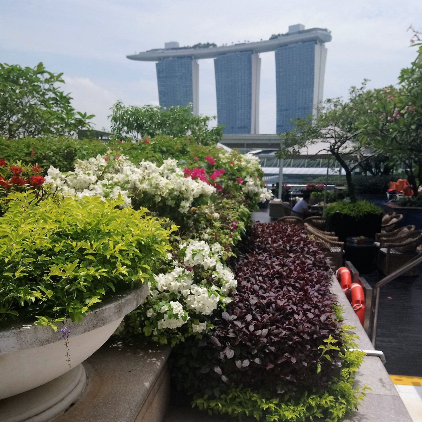 View of Marina Bay Sands from the rooftop gardens at The Fullerton Bay Hotel Singapore