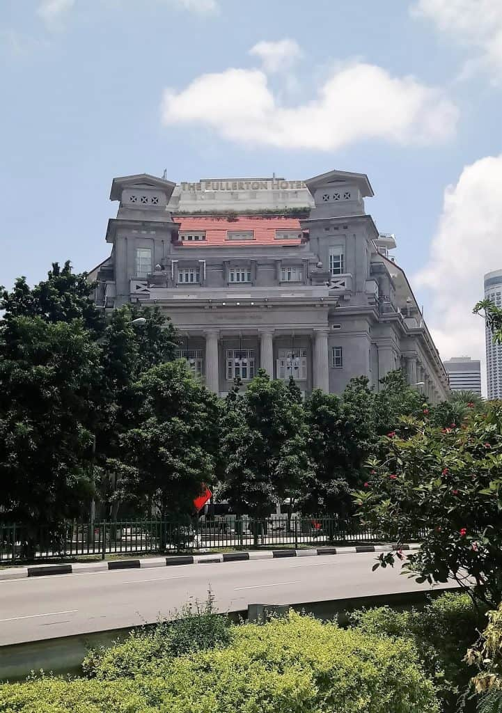 Exterior photograph of The Fullerton Hotel in Singapore, the former General Post Office. Things to do in Singapore.