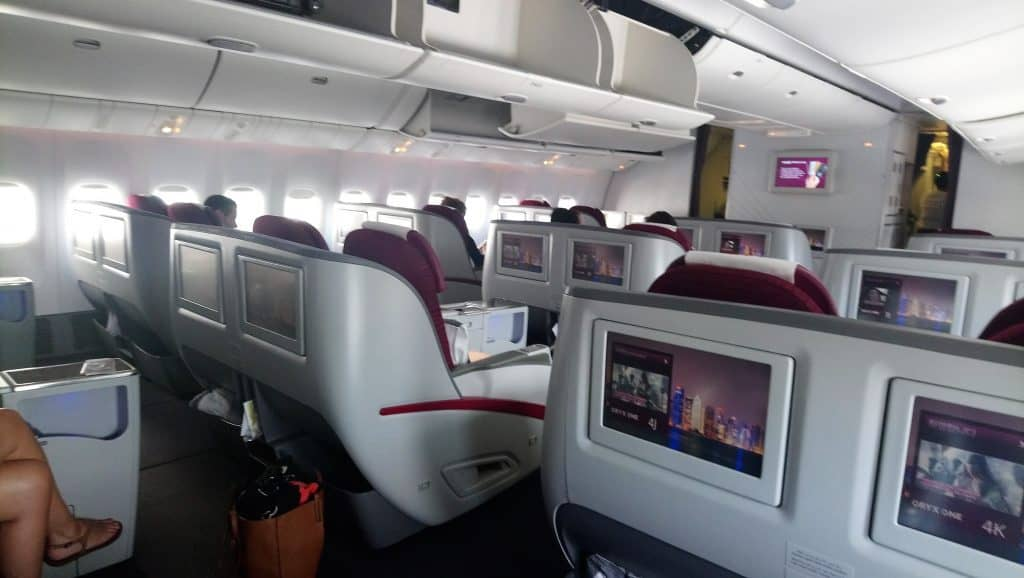 View of the cabin in Qatar Airways Business Class onboard the A330