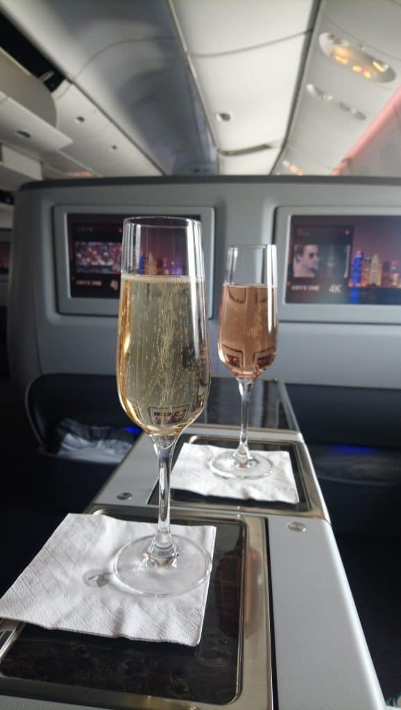 Glasses of Lanson Champagne onboard Qatar Airways Business Class on the A330