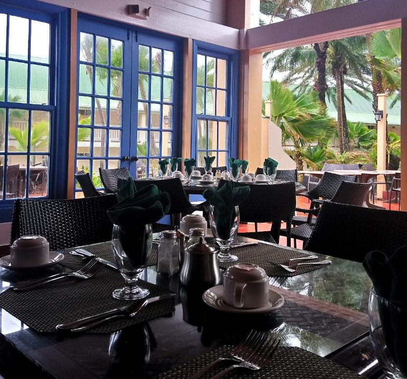 The Rainbow Garden Restaurant set up for breakfast at St James Club Antigua