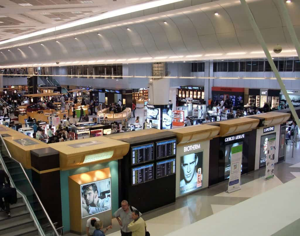 View of the shopping areas in Hamad International Airport in Doha, Qatar
