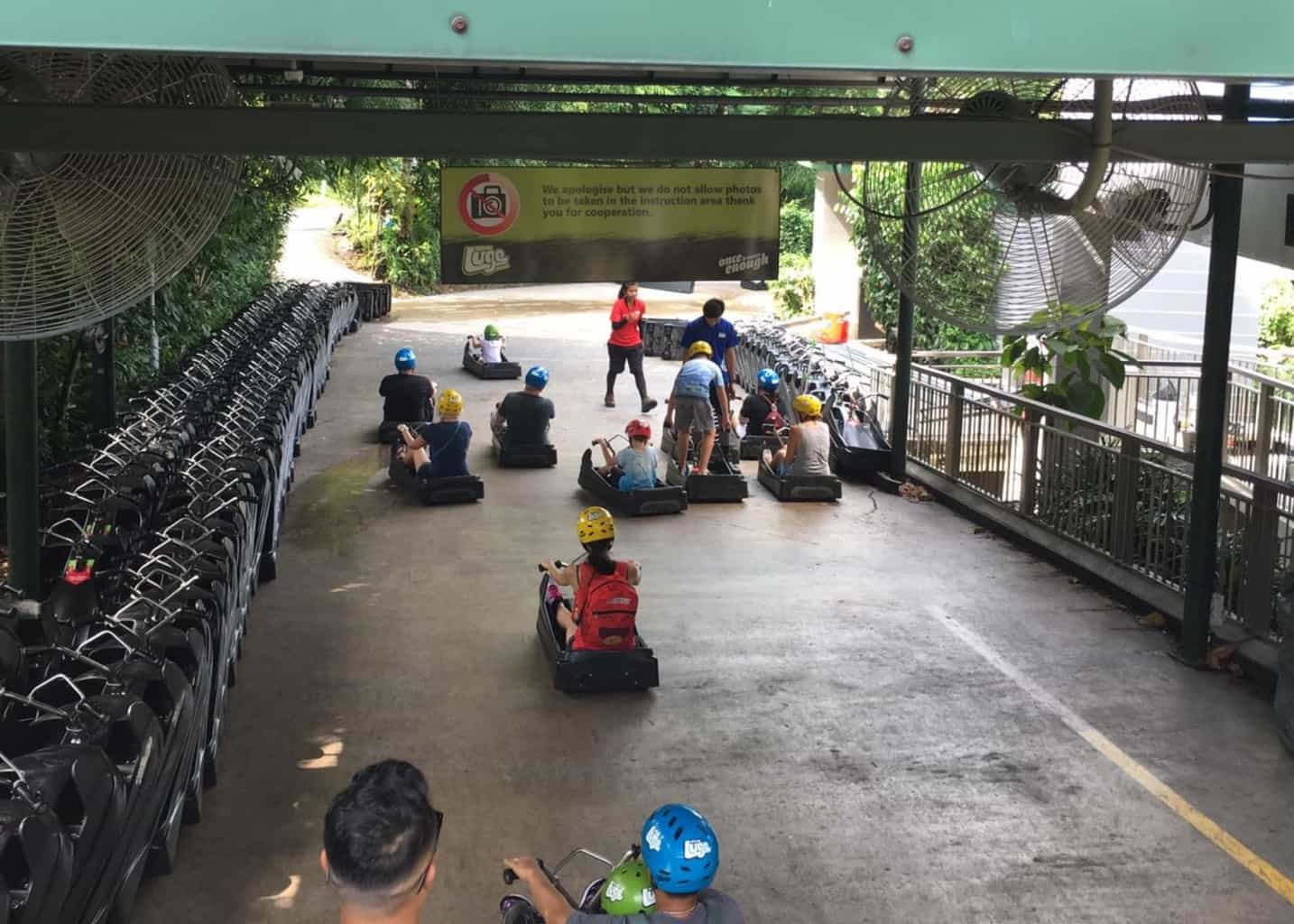 Start line for the Skyline Luge in Sentosa Island