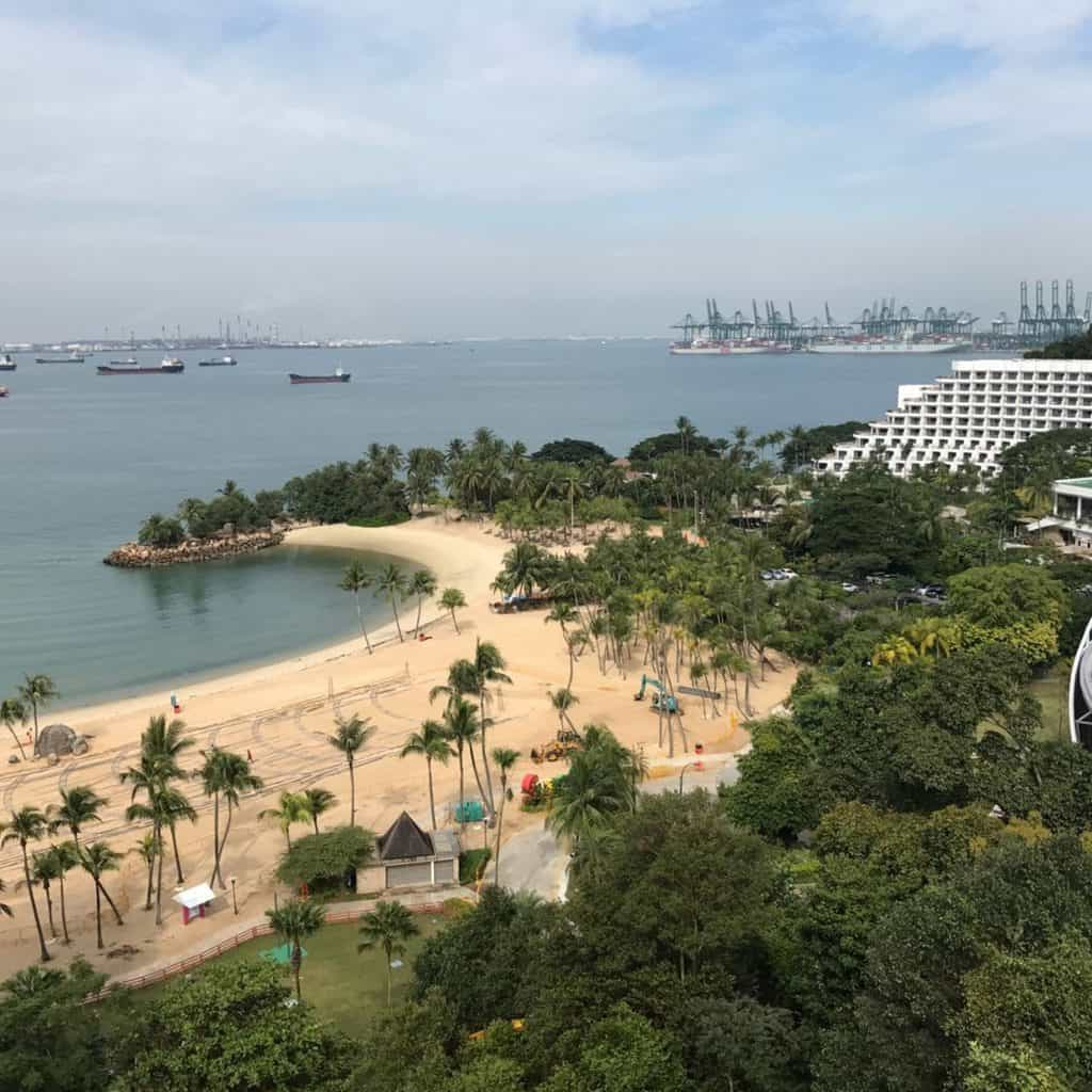 View of Siloso Beach and Shangri-La Rasa Sentosa from the cable car