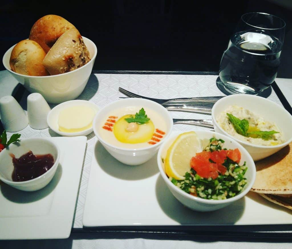 Classic Arabic Mezze from the Appetiser Menu for Qatar Airways Business Class
