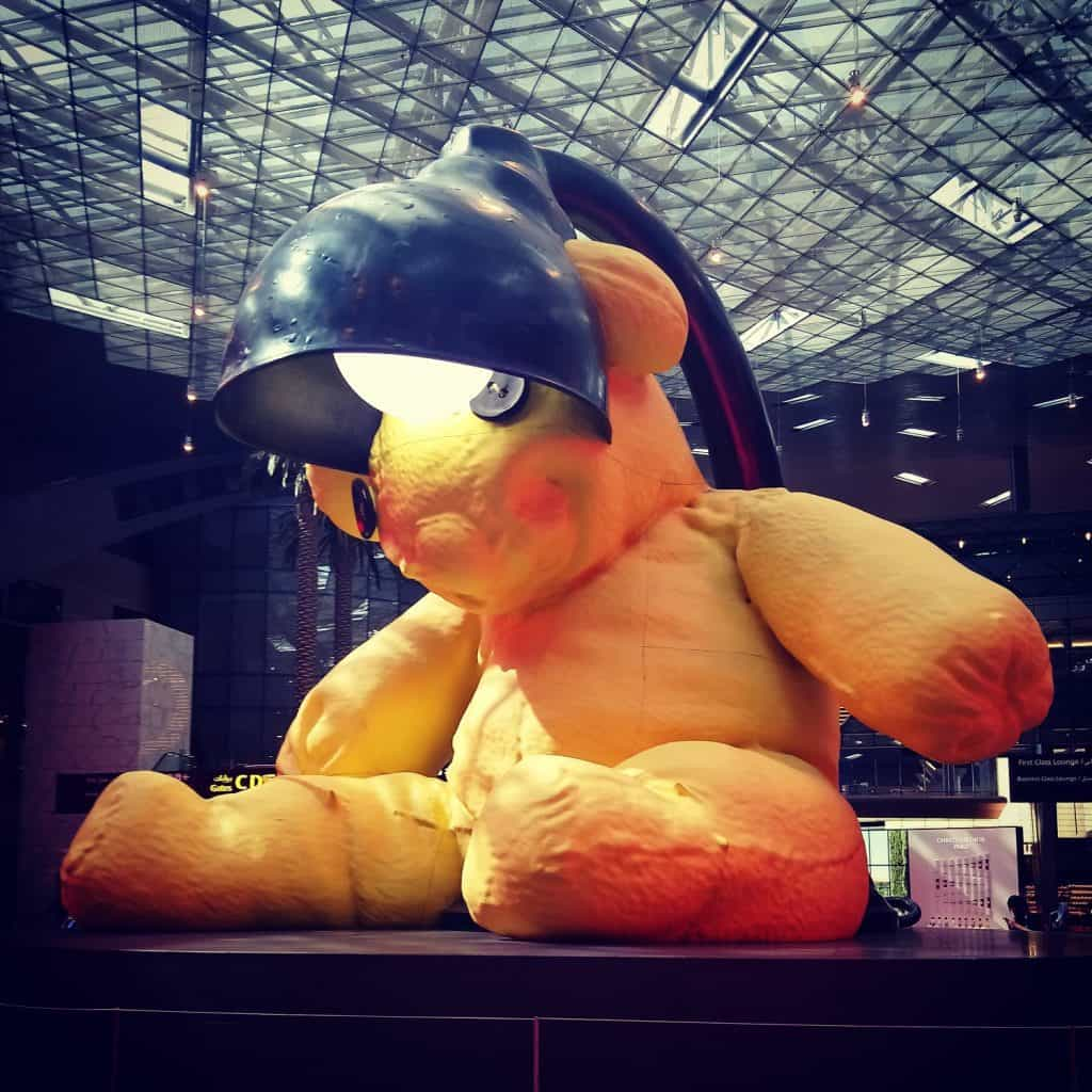 Photo of the Lamp Bear by Urs Fischer at Hamad International Airport in Doha, Qatar