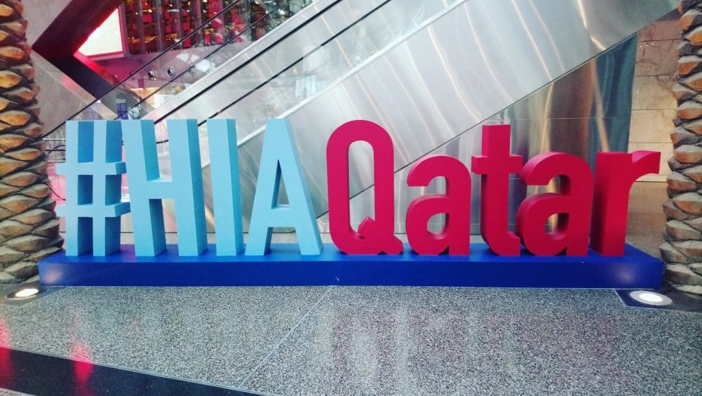 #HIAQatar Sign at Hamad International Airport in Doha, Qatar