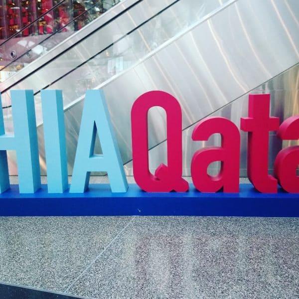 #HIAQatar Sign at Hamad International Airport in Doha, Qatar