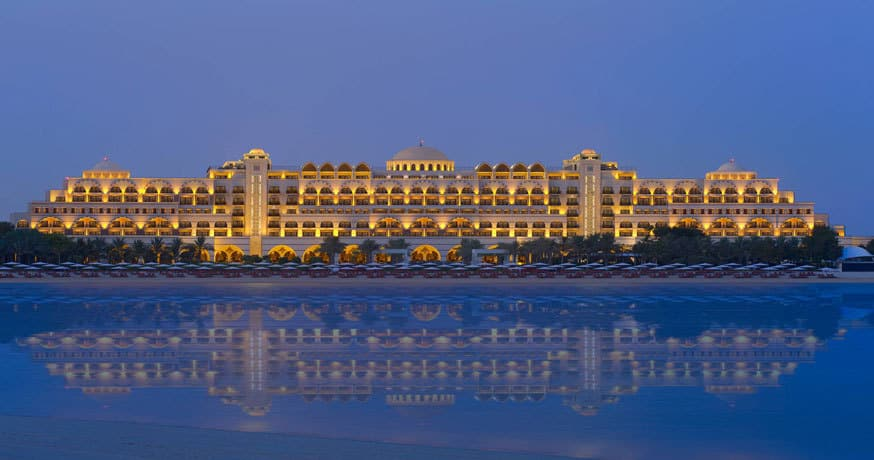Exterior view at night of Jumeirah Zabeel Saray on the Palm in Dubai