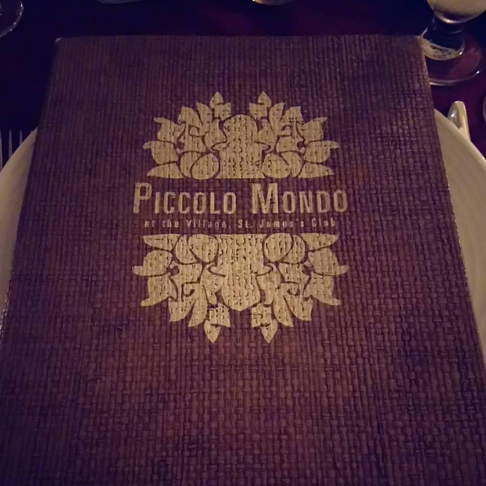 Piccolo Mondo Menu at St James Club Antigua