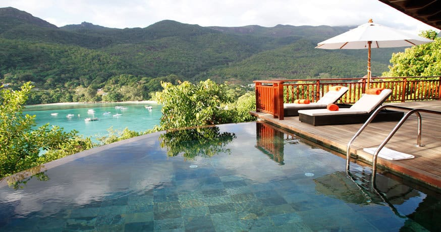 View of an infinity pool at Constance Ephelia in Mahe Seychelles.