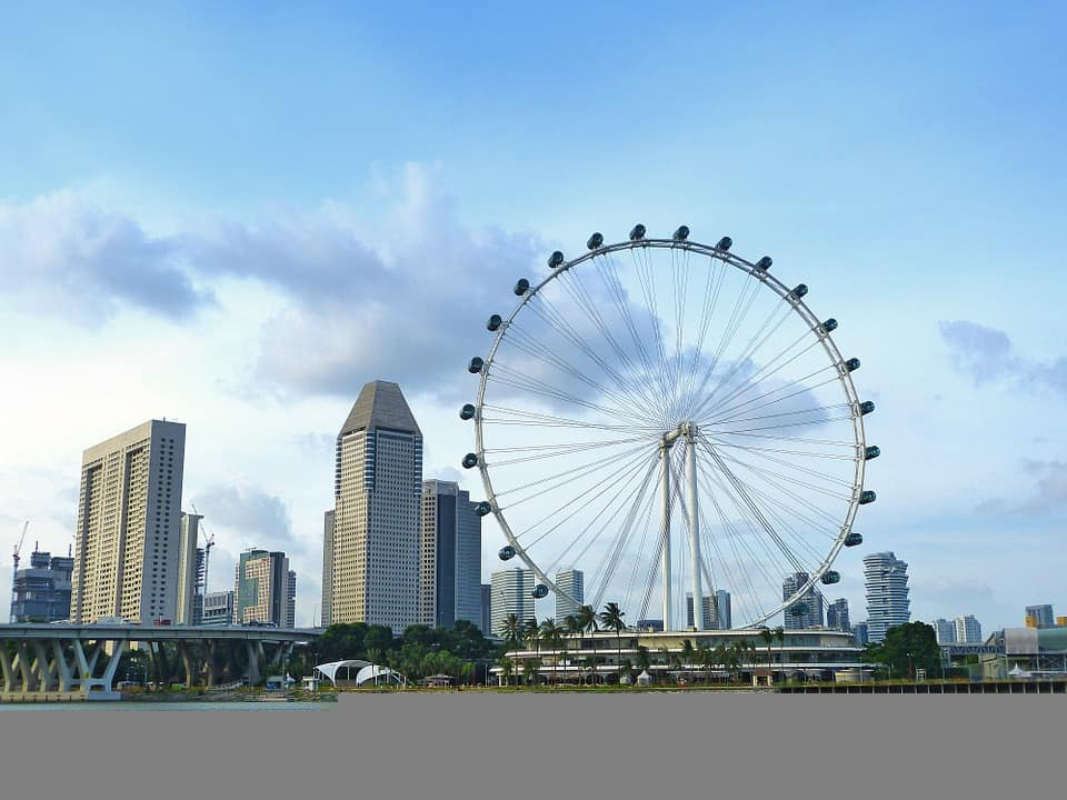 View across the water of the Singapore Flyer. Things to do in Singapore blog post.