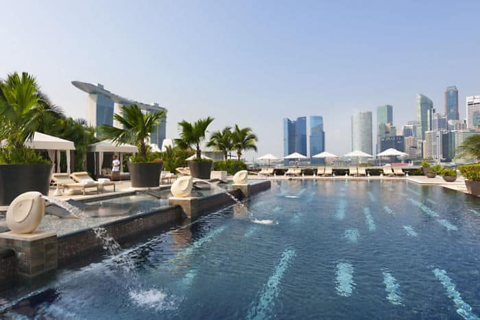 View of the outdoor swimming pool at Mandarin Oriental Singapore