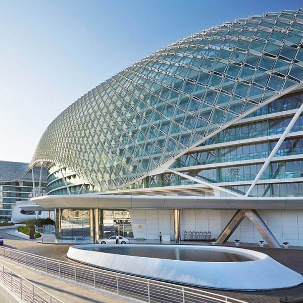 Exterior day view of the Yas Hotel Abu Dhabi