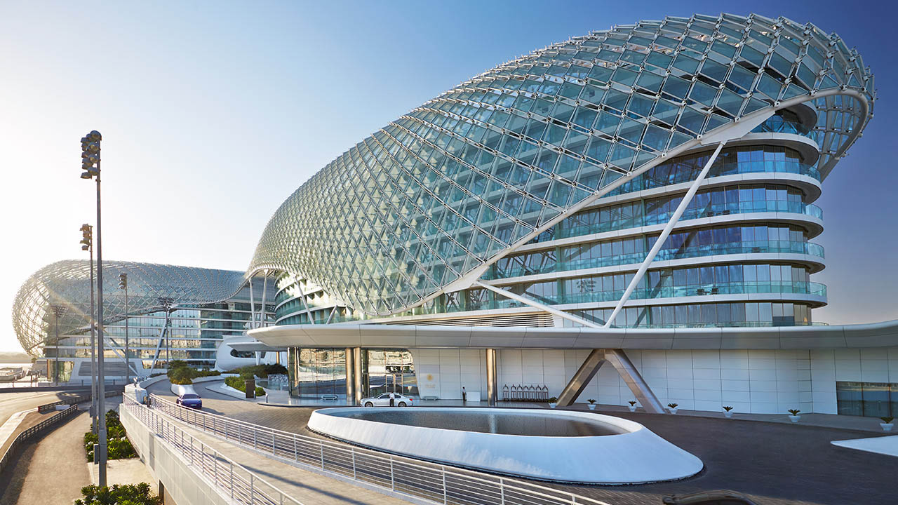 Exterior day view of the Yas Viceroy in Abu Dhabi