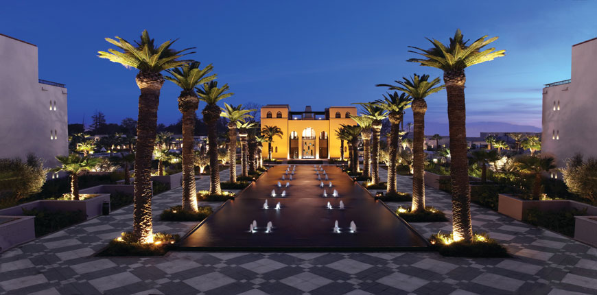 Exterior Night Time View of Four Seasons Marrakech in Morocco