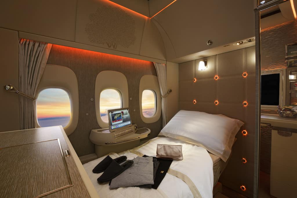 Emirates First Class Suites full flat bed