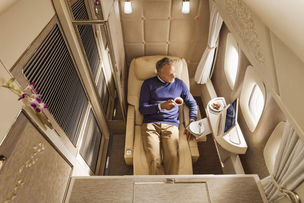 Emirates first class suites zero gravity position