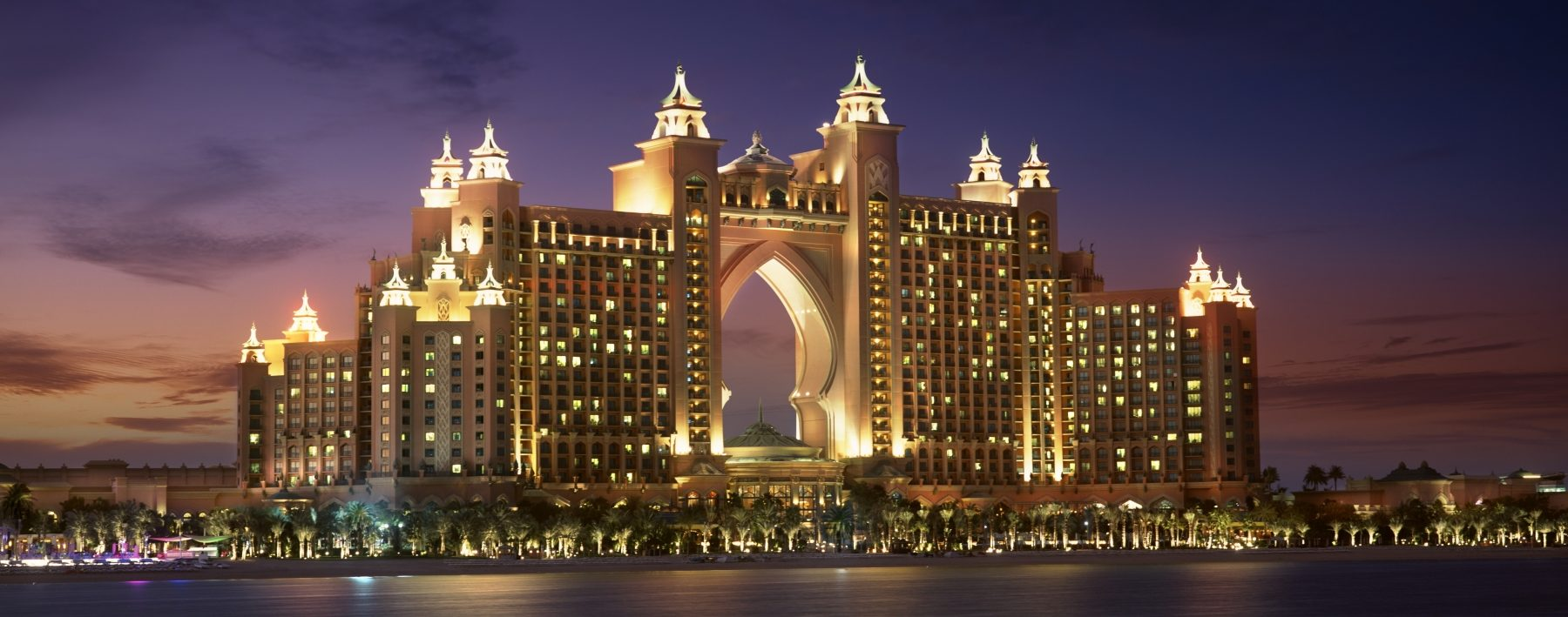 Exterior view of Atlantis The Palm at night in Dubai