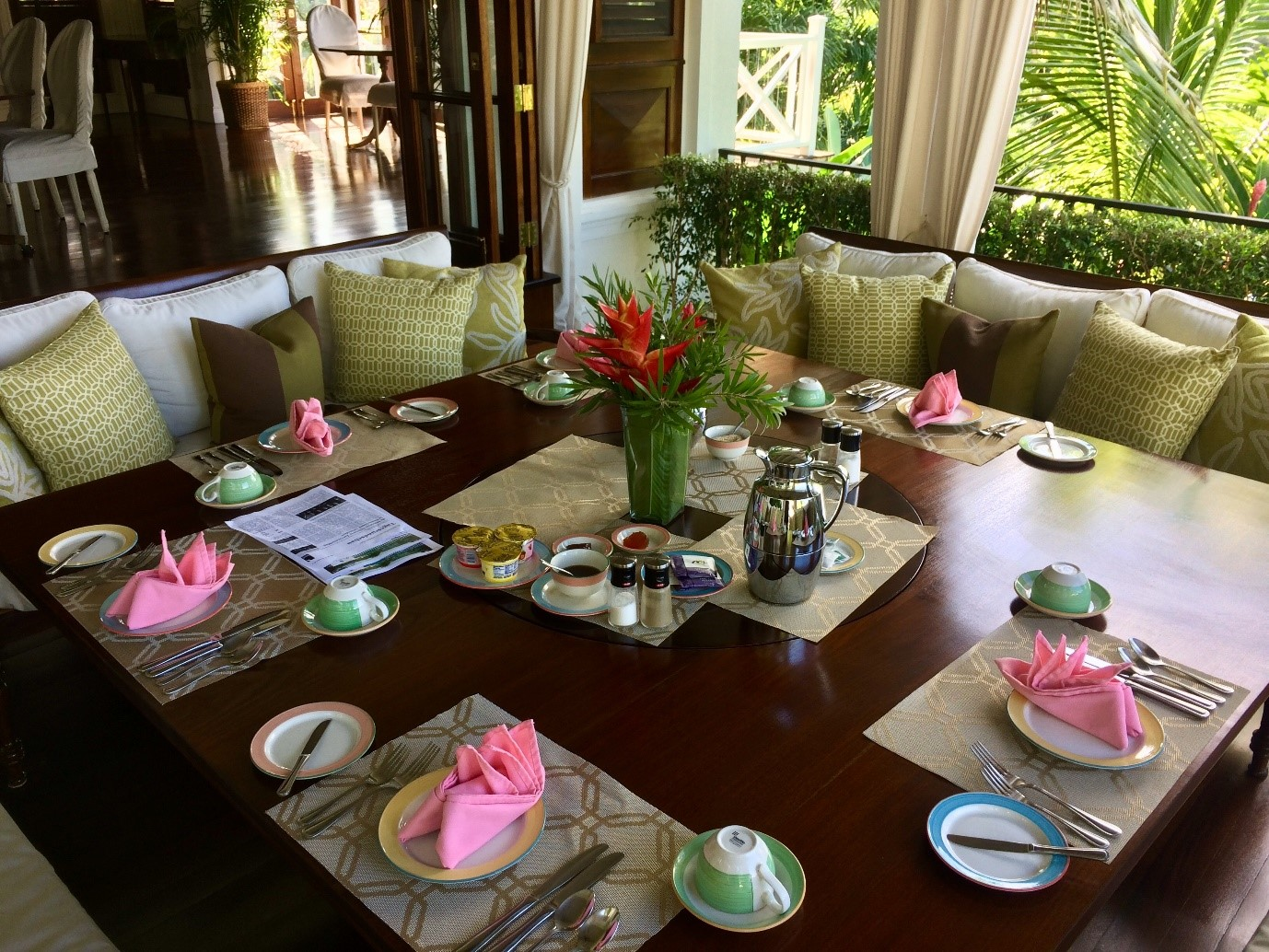 Breakfast at Villa 20 at Round Hill Resort & Villas in Jamaica