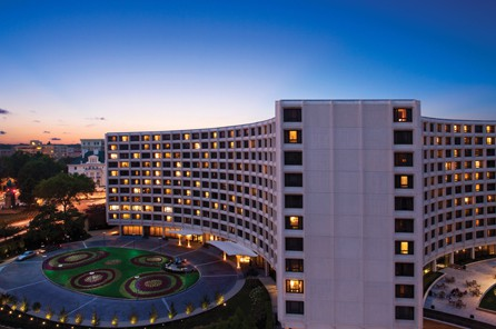 Exterior at dusk of Washington Hilton hotel in Washington DC, USA