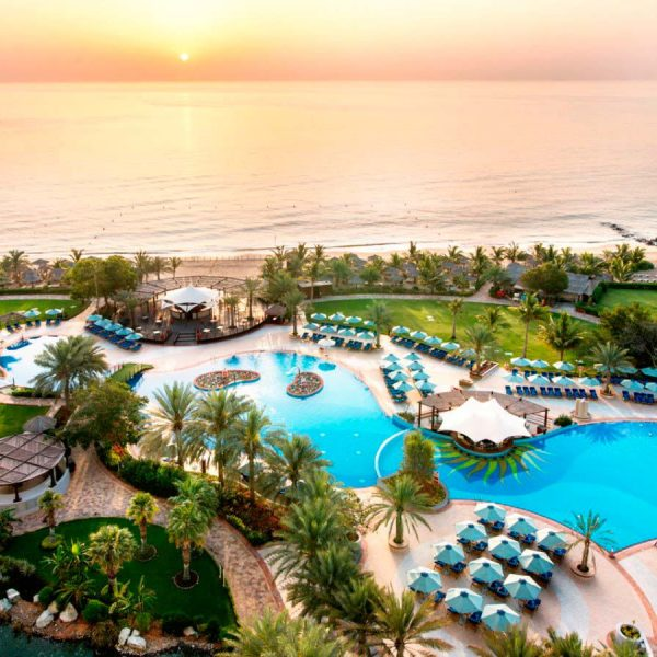Pool and Garden at Le Meridien Al Aqah Beach Resort in Fujairah, UAE